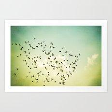 Birds Flying Photography, Birds Fly Sky, Mint Turquoise Yellow Nursery Art Art Print