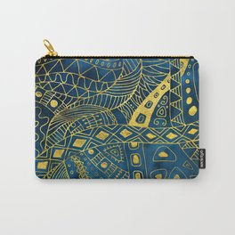 Tribal  Watercolor and Gold Pattern on blue Carry-All Pouch