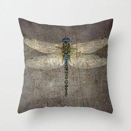 Dragonfly On Distressed Metallic Grey Background Throw Pillow