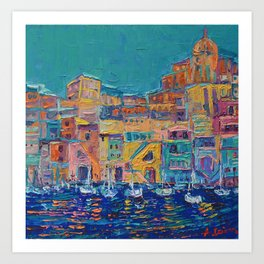 Bay of Naples #3 - modern palette knife art city landscape by Adriana Dziuba Art Print