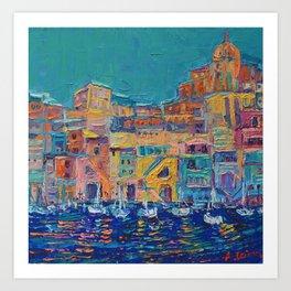 Bay of Naples #3 - modern palette knife art city landscape by Adriana Dziuba Art Print