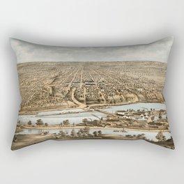 Vintage Pictorial Map of Appleton WI (1874) Rectangular Pillow