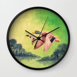 Mallard Ducks In Flight Wall Clock