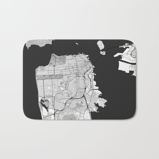 San Francisco Map Gray Bath Mat
