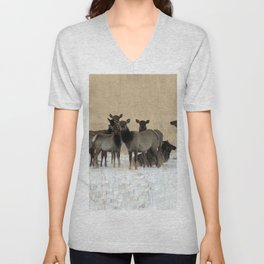 Cow Elk in a Bunch Unisex V-Neck
