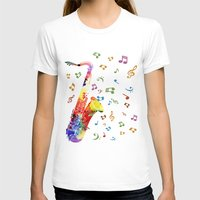 saxophone T-shirts featuring Saxophone by Miss L in Art