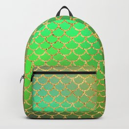 Luxurious Greens and Gold Mermaid Scale Pattern Backpack