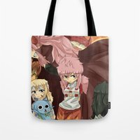 fairy tail Tote Bags featuring Fairy Tail Genderbend Doujinshi Cover. by Bluechuii