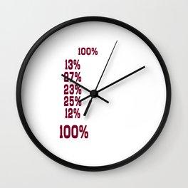 I Give 100% at School Funny Graphic T-shirt Wall Clock