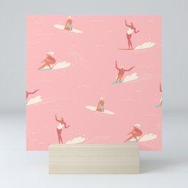 Waikiki beach in pink Mini Art Print