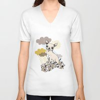 chihuahua V-neck T-shirts featuring Chihuahua by Camille Roy