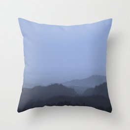 Mountains (Cyan Tone) Throw Pillow