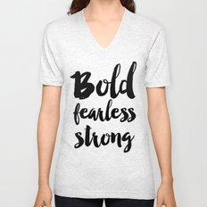 Bold Fearless Strong Typography Unisex V-Neck