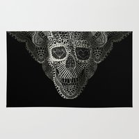 skull Area & Throw Rugs featuring Lace Skull by Ali GULEC