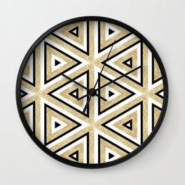 Gold Glitter and Black Geomeric Pattern Wall Clock