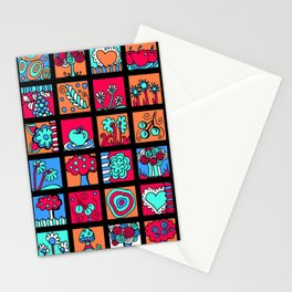 Apples Trees and Flowers Mini Doodle Art - Black Red Blue Stationery Cards