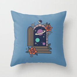 Space Door Throw Pillow