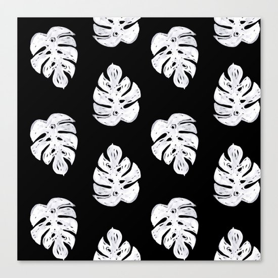 Linocut sketchy monstera leaf black and white tropical for Black and white mural prints