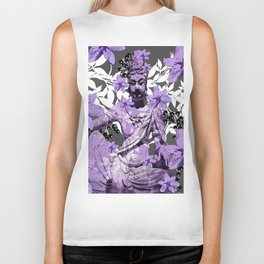 CHINA ANTIQUITIES YESTERDAY MEETS TODAY IN PURPLE AND WHITE Biker Tank