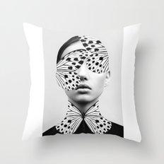 Woman Butterfly Throw Pillow