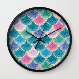 Glittery Mermaid Scales Wall Clock