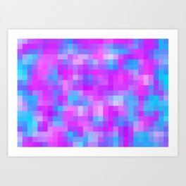 blue pink and purple pixel Art Print