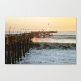 Ventura Pier with Big Wave Canvas Print