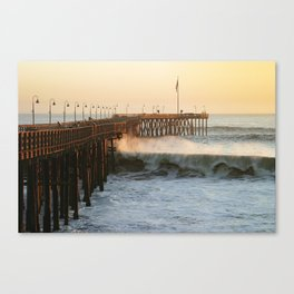 Ventura Pier with Big Wave Canvas Print