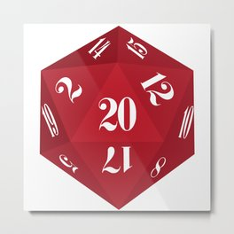Red 20-Sided Dice Metal Print
