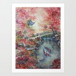 Autumn Morning (Watercolor painting) Art Print
