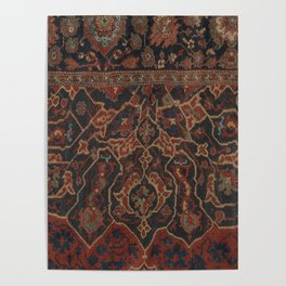 Boho Chic Dark II // 17th Century Colorful Medallion Red Blue Green Brown Ornate Accent Rug Pattern Poster