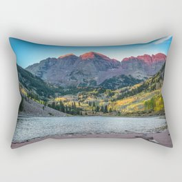 Maroon Bells Morning - Sunrise and Autumn Color near Aspen, Colorado Rectangular Pillow