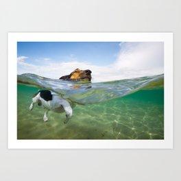 Ocean Swimming Dog Art Print