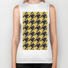 Houndstooth Black And Yellow Biker Tank