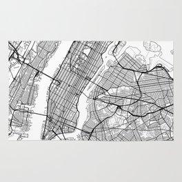 New York City Neutral Map Art Print Rug