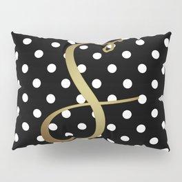 Black and White Polka Dot and S Gold Monogram Pillow Sham