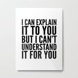 I Can Explain it to You, But I Can't Understand it for You Metal Print
