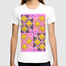Pink-Grey Quarter Panel Floral Pattern T-shirt