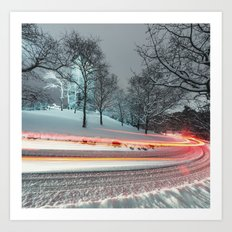 Silent Winter Drive Art Print