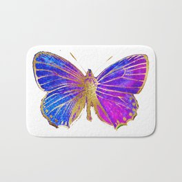 Elegant Gold-Glitter Butterfly in Blue and Purple Bath Mat
