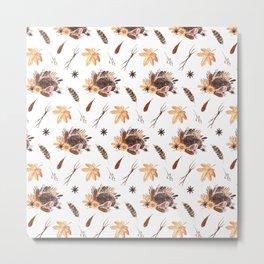 Cute brown pink orange yellow watercolor hedgehogs fall leaves Metal Print