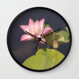 Pink Lotus by Teresa Thompson Wall Clock
