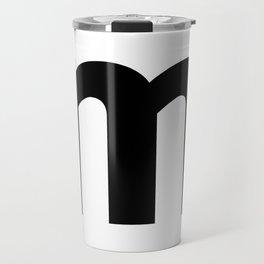letter M (Black & White) Travel Mug