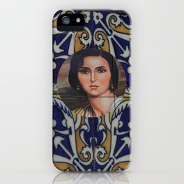 Spain 46 - Woman in Madrid with mosaic on the wall iPhone Case