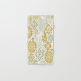 Floral Pattern in Gold and Sage Hand & Bath Towel