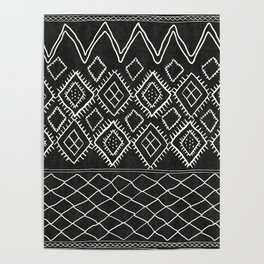 Beni Moroccan Print in Black and White Poster