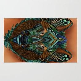 Zentangle Inspired Art-Colored Wolf Rug