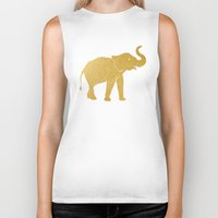 gold foil Biker Tanks featuring Gold Foil Elephant by Mod Pop Deco