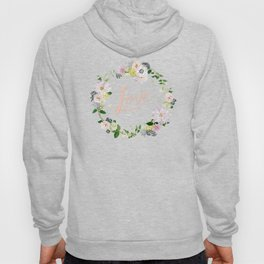 Love Pink Flower Wreath Hoody