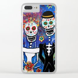 Mexican Folk Art Wedding Painting Clear iPhone Case